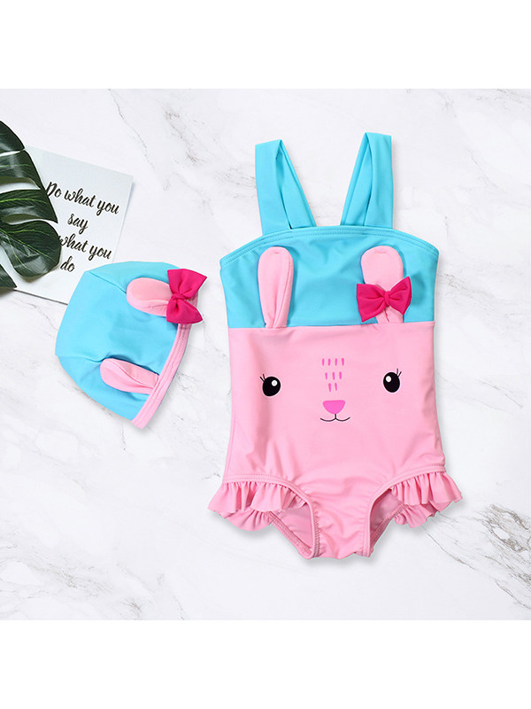 【6M-4Y】Girls Cute Fresh One-piece Swimsuit with Swimming Cap