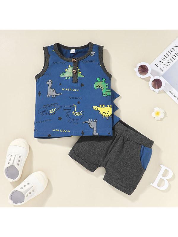 【3M-3Y】Boys Round Neck Sleeveless Dinosaur Vest and Shorts Set