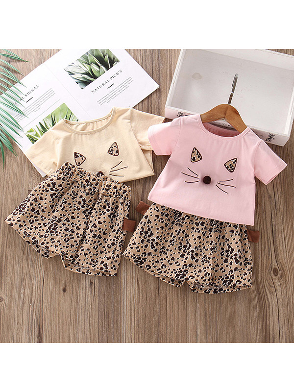 【12M-5Y】Girls Cartoon Print Top Shorts Two-piece Suit