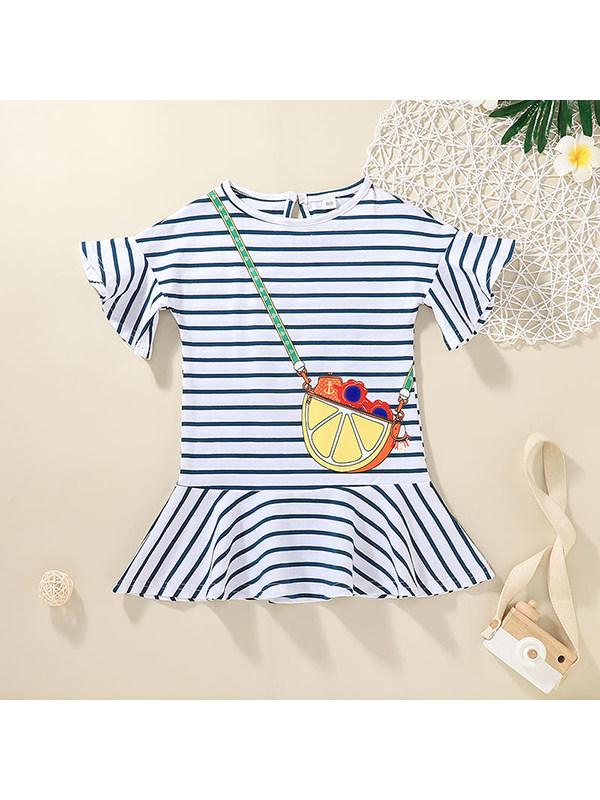 【12M-5Y】Girls Round Neck Print Striped Dress