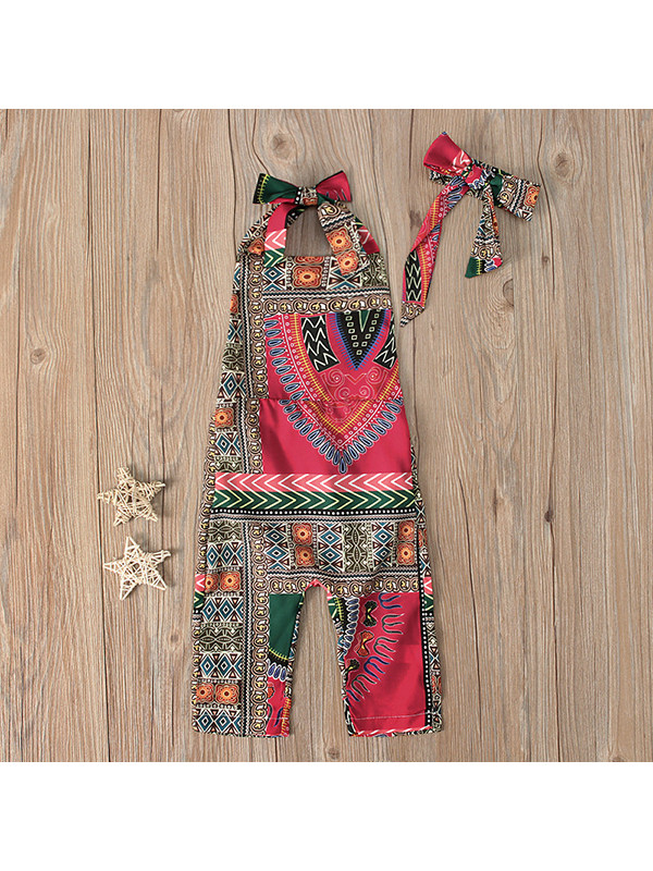 【6M-5Y】Girls Bohemian Style Printed Romper And Headband