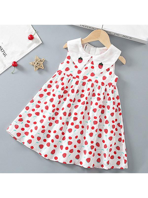 【2Y-9Y】Girls Doll Collar Printed Sleeveless Dress