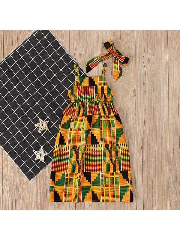 【18M-7Y】Girls Boho Style Strapless Strappy Dress