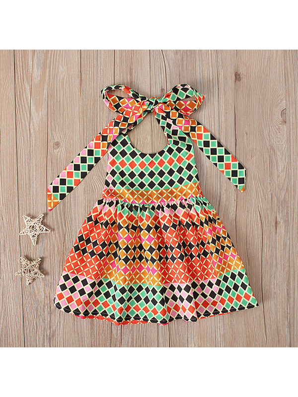【12M-5Y】Girls Bohemian Style Sleeveless Lace-up Halter Dress