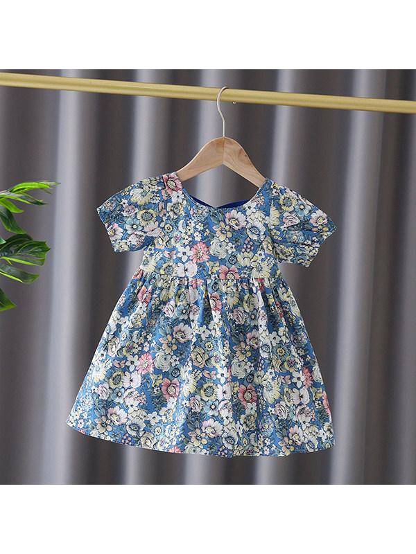 【12M-7Y】Girls Flower Ribbon Puff Sleeve Dress