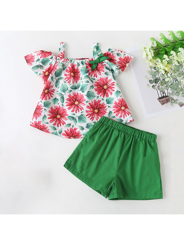 【18M-7Y】Girls Short-sleeved Printed Top and Shorts Two-piece Suit