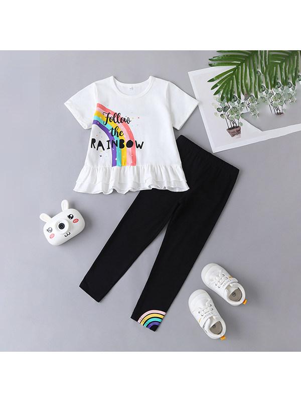 【18M-7Y】Girls Short-sleeved Rainbow Print T Black Trouser Suit