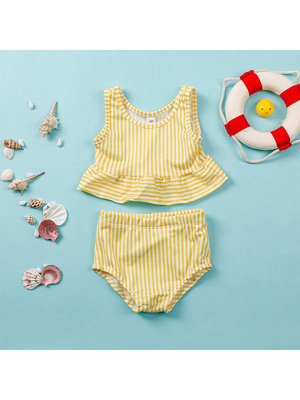 【12M-5Y】Girls' Vest Striped Swimsuit Suit