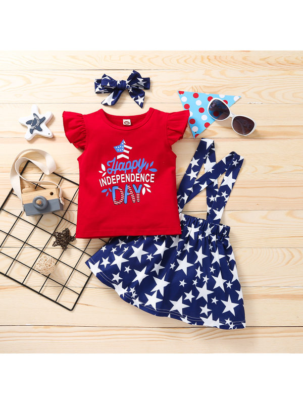 【12M-5Y】Girls Summer Independence Day Cartoon Print Two-piece Set