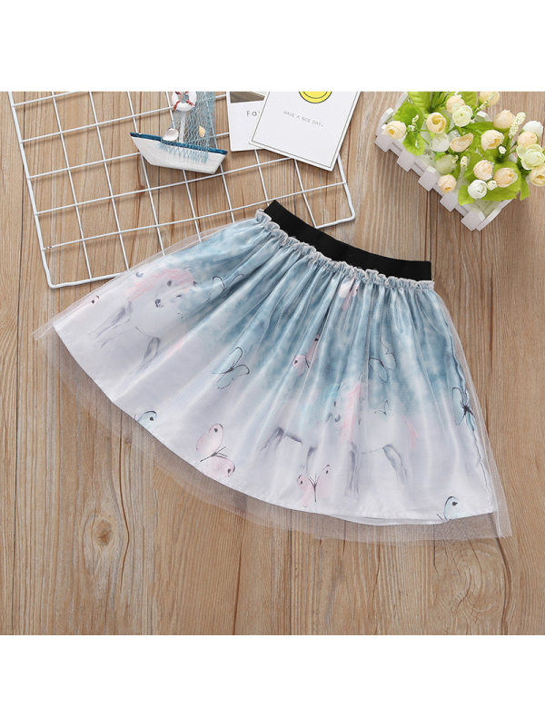 【6M-4Y】Girls Cartoon Butterfly Print Mesh Skirt