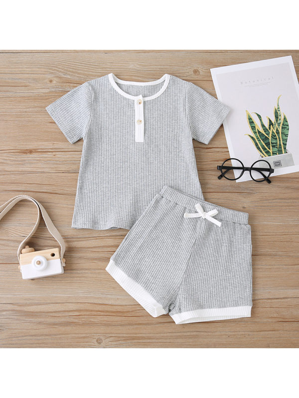 【18M-7Y】Girls' Round Neck T-shirt Shorts Two-piece Suit