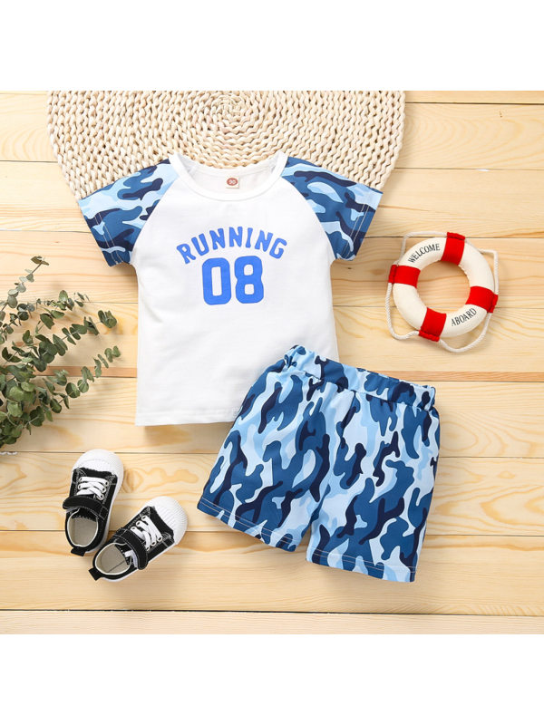 【18M-5Y】Boys Letter Print Color Stiching Short-sleeved Shorts Two-piece Suit