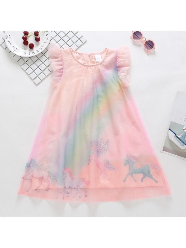 【12M-5Y】Girls Unicorn Rainbow Mesh Dress