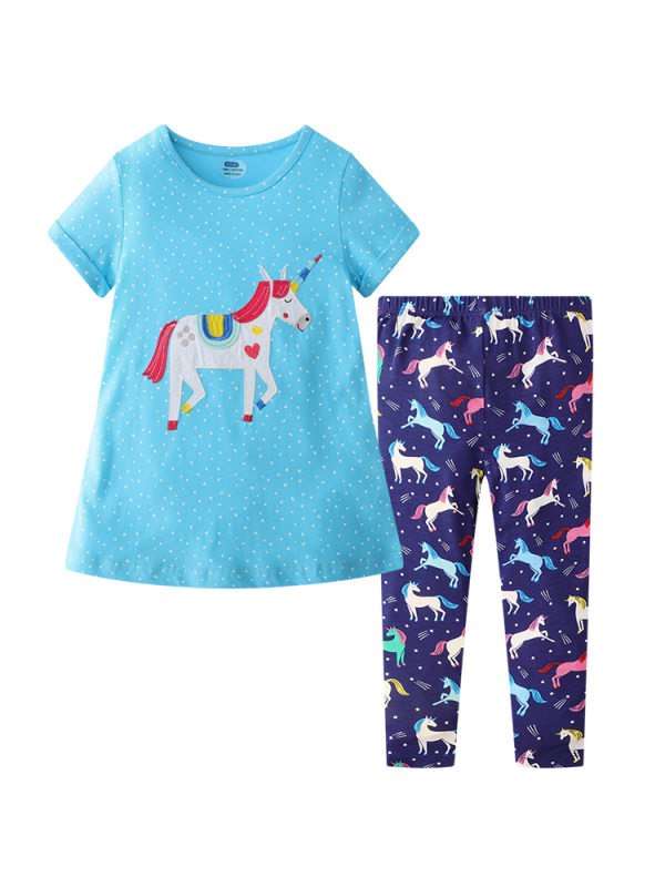 【12M-7Y】Girls Cartoon Unicorn Print Short-sleeved Top And Trousers Two-piece Suit
