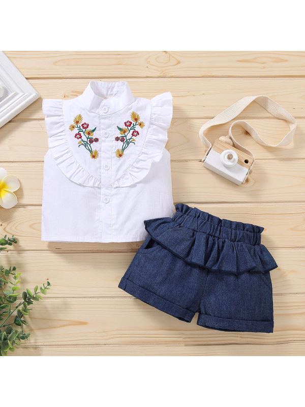 【2Y-9Y】Girls Embroidered Lace Top Denim Shorts Trend Two-piece Suit