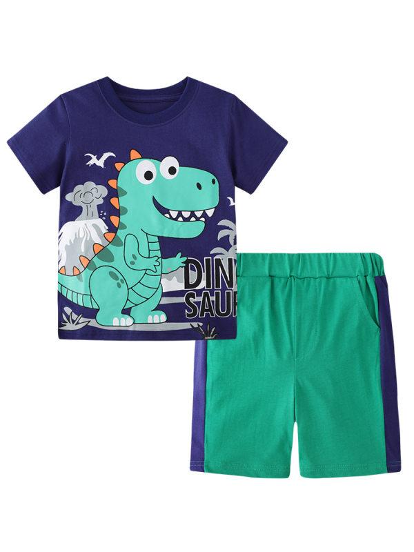 【18M-9Y】Boy's Cartoon Print Short-sleeved T-shirt Two-piece Shorts