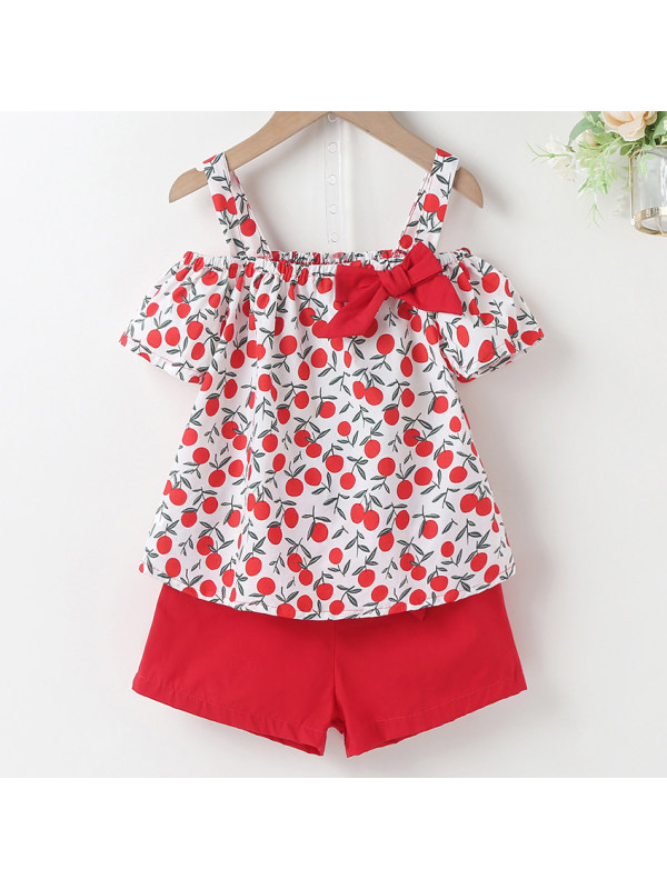 【18M-7Y】Sweet Cherry Print Top and Shorts Set