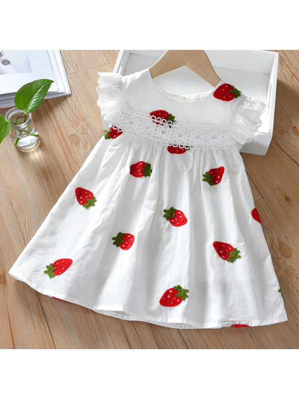 【18M-7Y】Cute Strawberry Embroidered Round Neck Lace Sleeve Dress