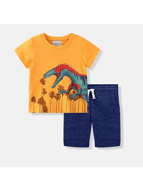 【18M-9Y】Boy's Dinosaur Print Short Sleeve T-shirt Shorts Two-piece Suit