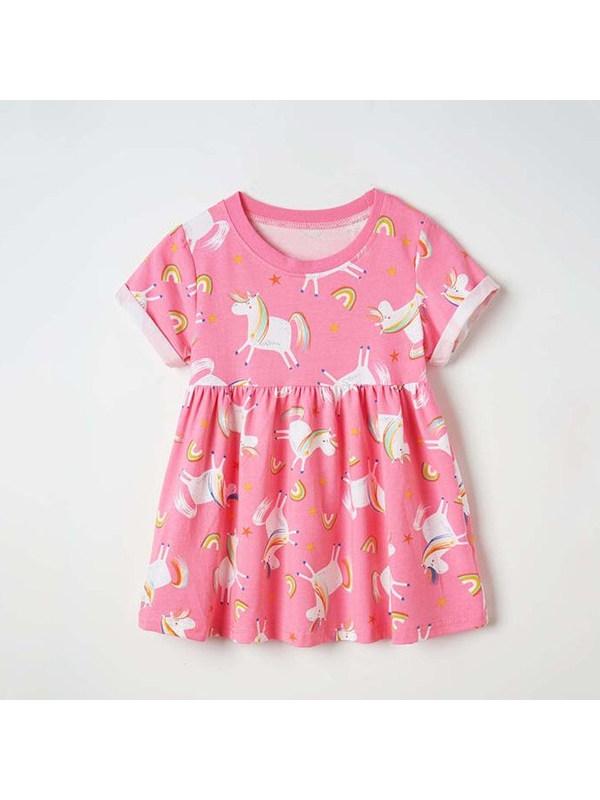 【18M-9Y】Girls Cartoon Unicorn Rainbow Print Dress