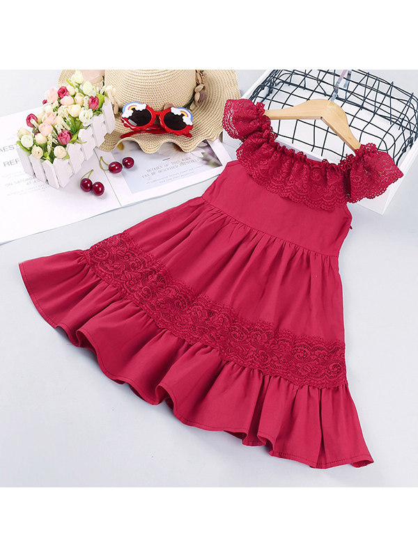 【18M-7Y】Girls' One-neck Lace Short-sleeved Dress