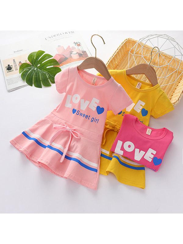 【12M-7Y】Girls' Cotton Mid-length Dress