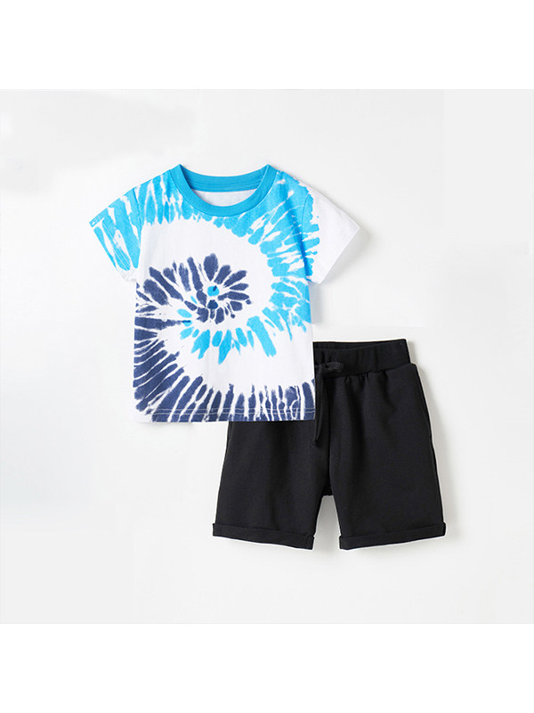 【18M-9Y】Boys Tie-dye Short-sleeved T Blood Shorts Two-piece Suit