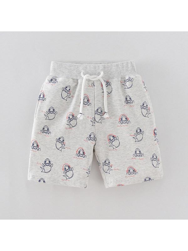 【18M-9Y】Boys Cartoon Print Trendy Five-point Pants