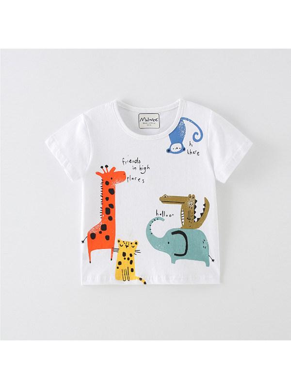 【18M-9Y】Boys Animal Print Short Sleeve T-shirt