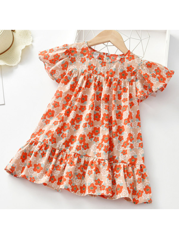【2Y-9Y】Girl Sweet Red Flower Short Sleeve Dress