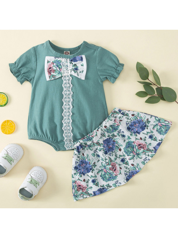 【9M-3Y】Sweet Bow Green Romper and Floral Skirt Set