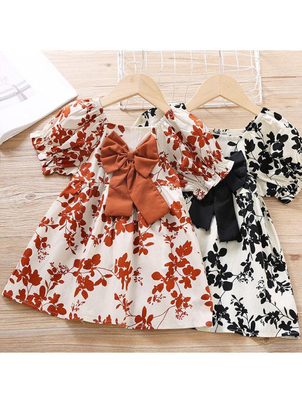 【12M-5Y】Girls Sweet Leaf Print Bow Short Sleeve Dress