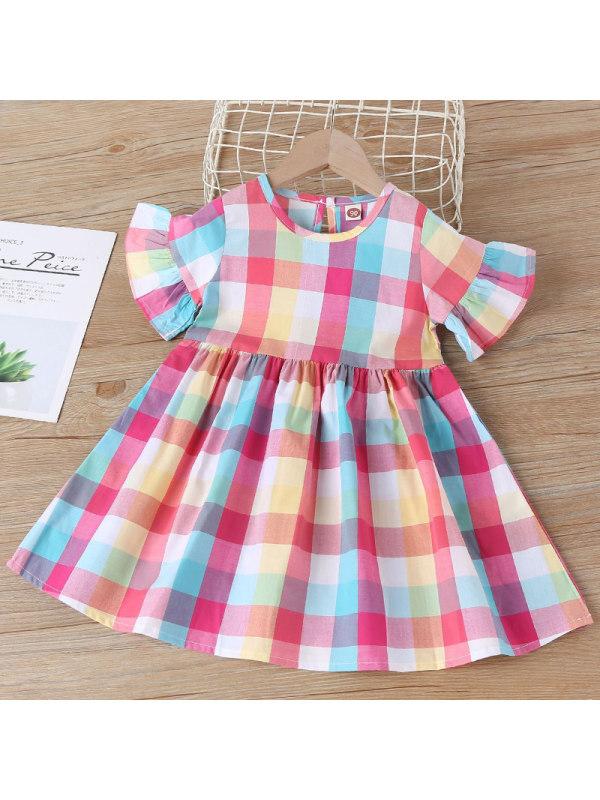 【18M-7Y】Girl's Sweet Plaid Short Sleeve Dress