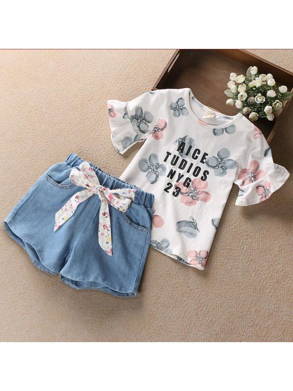 【3Y-13Y】Cute Butterfly Print T-shirt And Denim Shorts Set - 3477