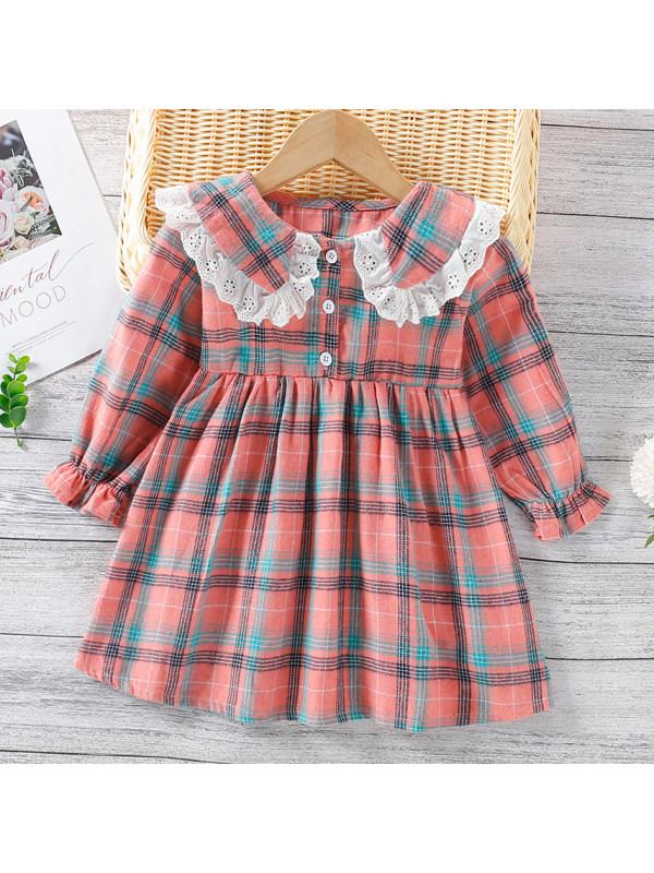 【18M-7Y】Sweet Lace Collar  Plaid Long Sleeve Dress