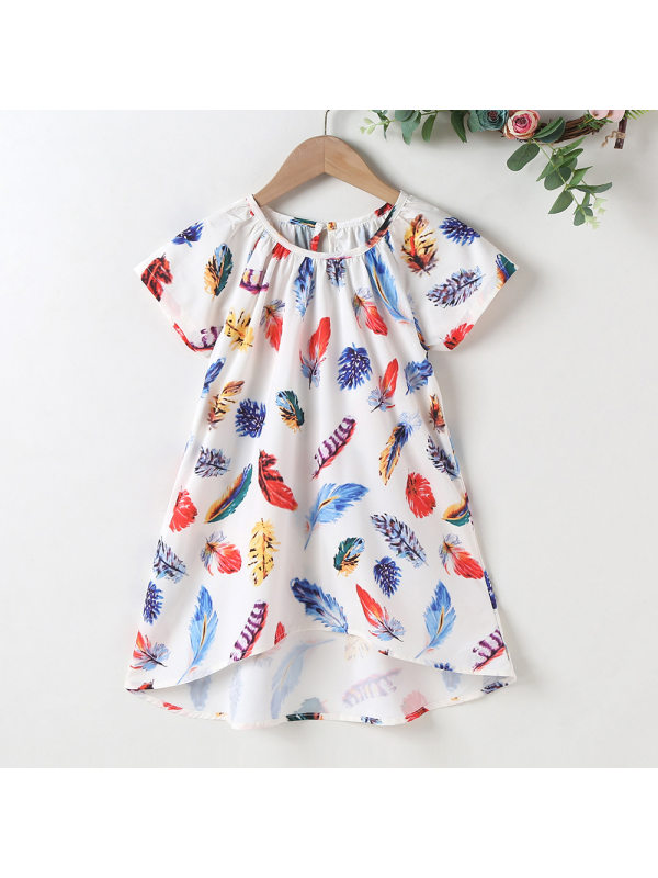 【18M-7Y】Sweet Feather Print Round Neck Short Sleeve Dress