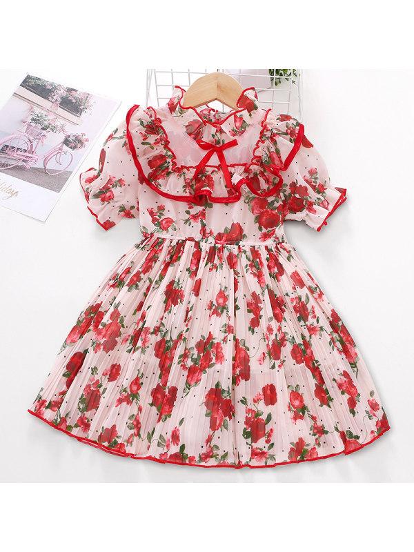 【2Y-9Y】Girl Sweet Red Flower Chiffon Short Sleeve Dress