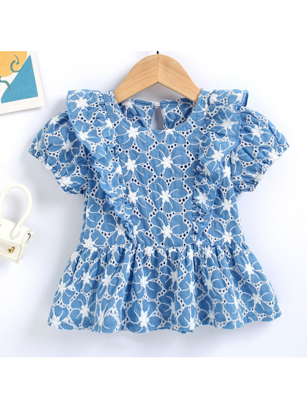【18M-7Y】Sweet Floral Embroidered Blue Shirt