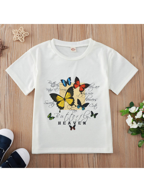 【18M-7Y】Sweet Butterfly Print Round Neck Short Sleeve White T-shirt