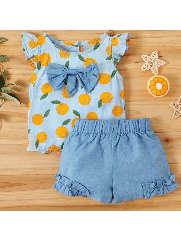 【6M-2.5Y】Baby Girl Sweet Fruit Pattern Top Denim Shorts Set