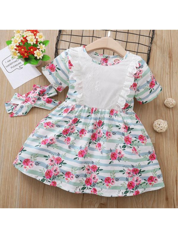 【12M-4Y】Sweet Flower Print Short Sleeve Dress
