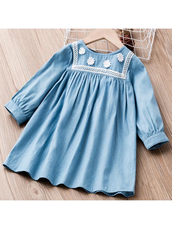 【18M-6Y】Girl Sweet Denim Long Sleeve Dress