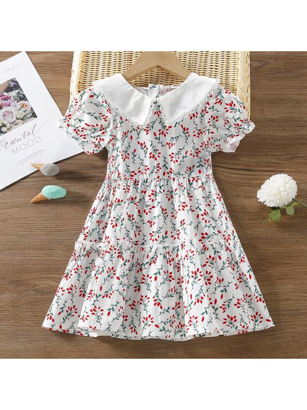 【18M-7Y】Sweet Flower Print Short Sleeve Dress