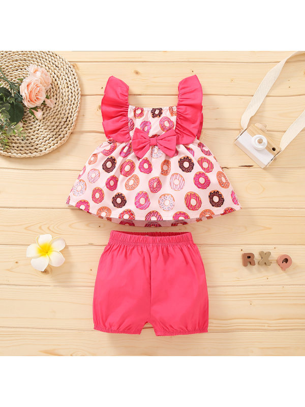 【12M-4Y】Cute Donut Print Top and Shorts Set