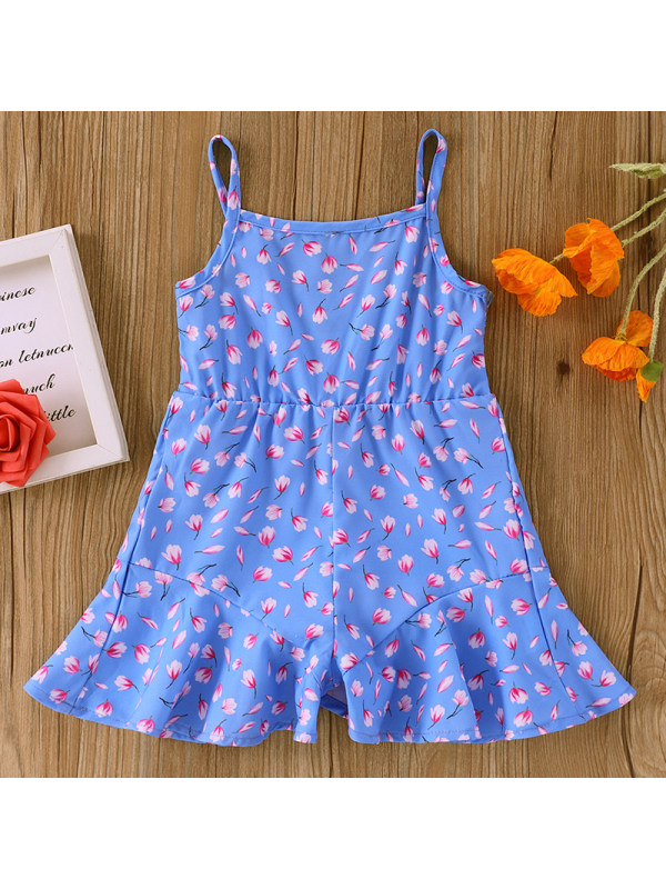 【6M-2.5Y】Baby Girl Sweet Blue Flower Jumpsuit