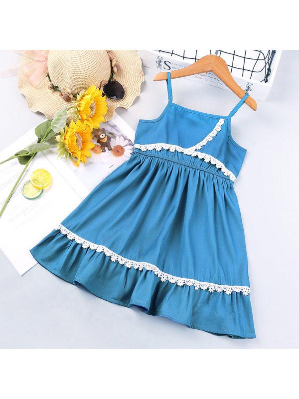 【18M-7Y】Girl Sweet Denim Lace Sling Dress