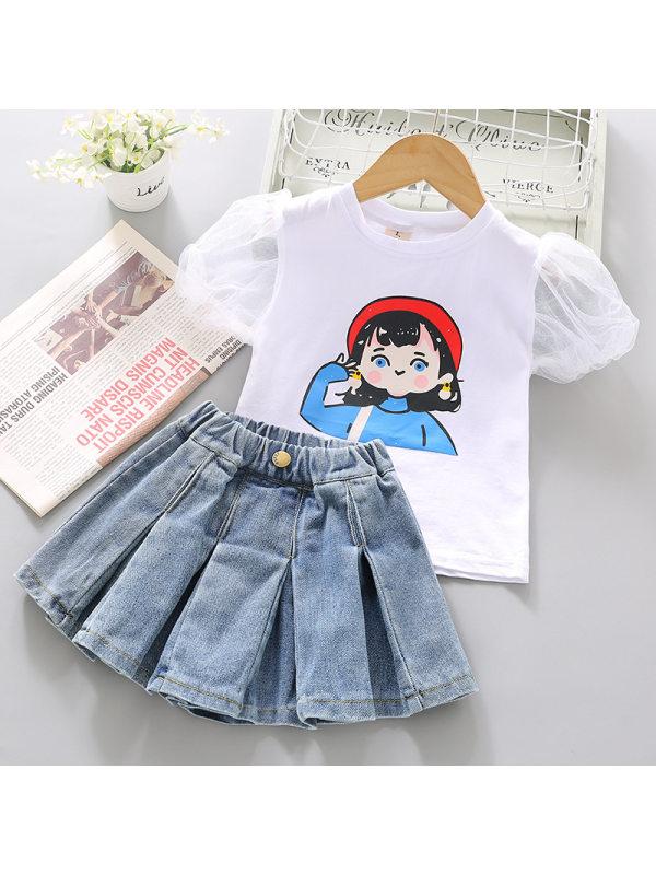 【2Y-9Y】Girl Sweet Cartoon Pattern Short-sleeved T-shirt Denim Hakama Set - 3470