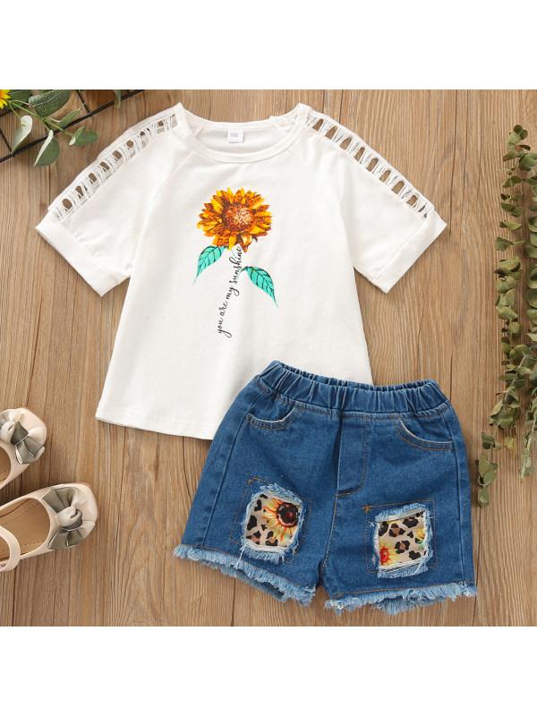 【12M-5Y】Cute Floral Print White T-shirt and Denim Shorts Set