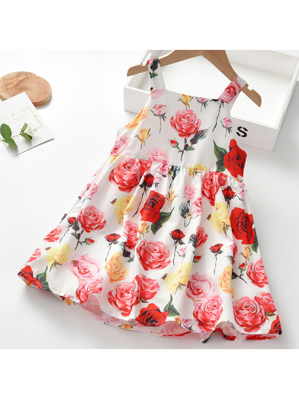 【18M-7Y】Girl Sweet Red Floral Sleeveless Dress