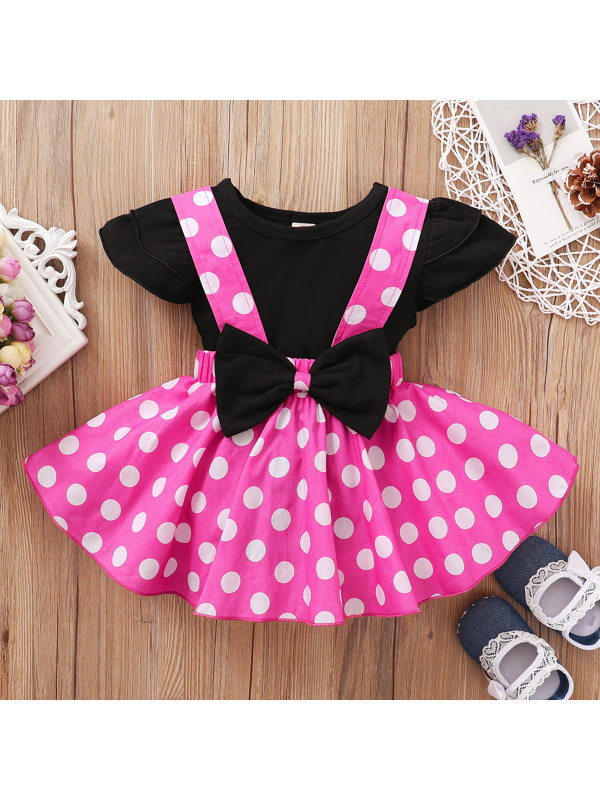 【12M-5Y】Cute Round Neck T-shirt and Polka Dot Skirt Set